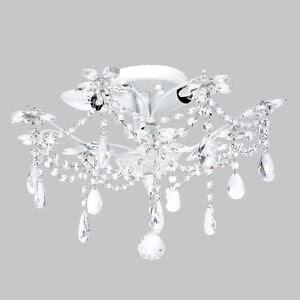 Flush Mount Chandelier Jewels White Bedroom Bathroom Light ...