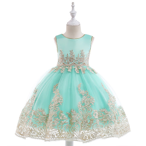 39974a1e15 Good Offer of Retail Appliques Princess Girls Birthday Evening Party Gown  Dress Noble Elegant Gold Line Girls Wedding Dress With Sashes L9029Price ...