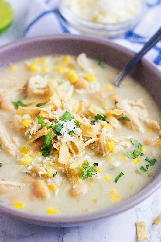 Slow Cooker Salsa Verde Chicken Soup - Life In The Lofthouse