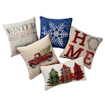 Brentwood Holiday Decorative Pillow Collection, Plaid Trees