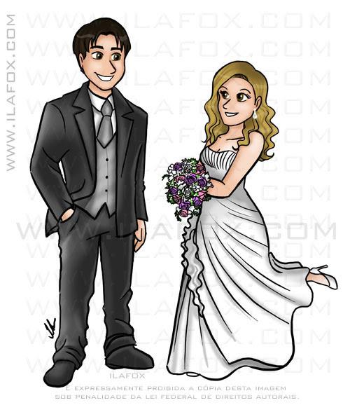 caricatura noivos para chinelos, no estilo desenho animado, by ila fox