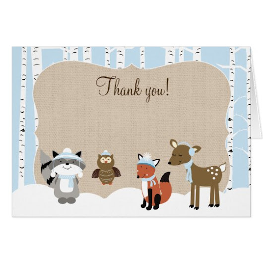Winter Woodland Animals Birch Tree Thank you Notes