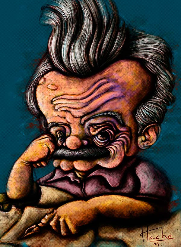 Caricatura de Mario Benedetti por Hache Holguin