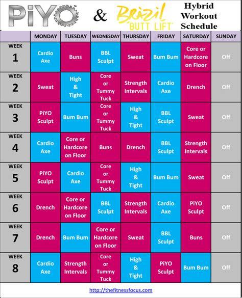 piyo hybrid workout schedules  calendar downloads