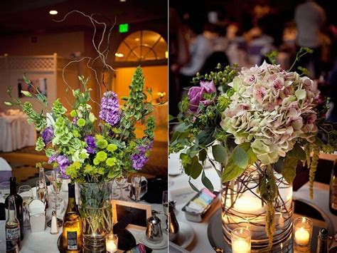 Whimsical wedding reception decor and flowers  purple