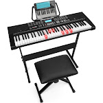 Best Choice Products 61-Key Beginners Complete Electronic Keyboard Piano Set w/ LCD Screen, Lighted Keys, Headphones