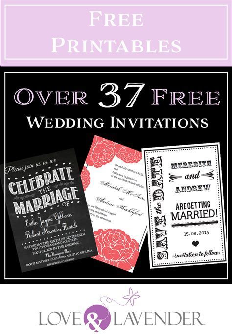 Over 37 FREE wedding printables including invitations and