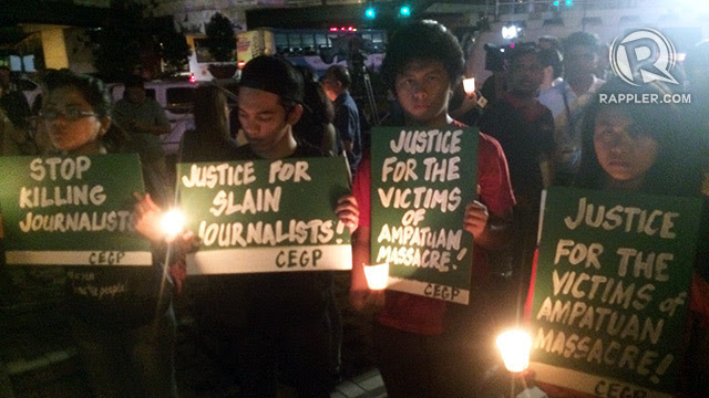 END IMPUNITY. Students demand justice for those killed in the 2009 Maguindanao massacre. Of the 58 victims, 32 were journalists. File photo by Michael Bueza/Rappler