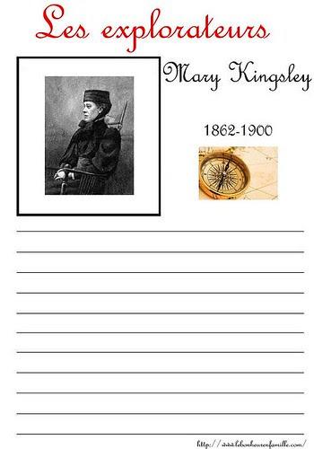 fiche explorateurs Marie Kingsley AAAAAAAAAAAAAAAA