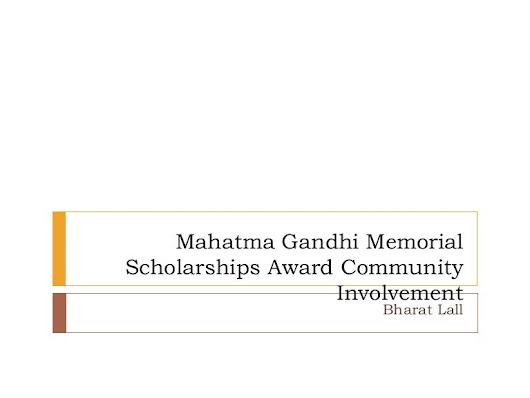 Mahatma Gandhi Memorial Scholarships Award Community Involvement