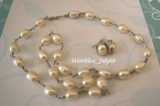 Wire Wrapped Pearl Necklace and Stud Earrings