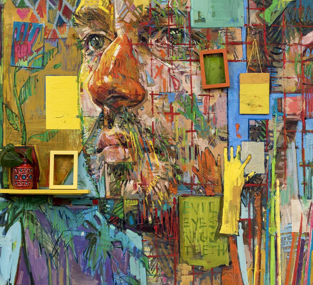 (Detalle) 'Soft Cage' Aceite, pastel de aceite, novelas de bolsillo, y objetos encontrados sobre lienzo, 225 x 205 cm
