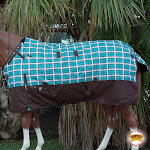 "72"" Hilason 1200D Waterproof Turnout Winter Horse Blanket Turquoise Plaid"