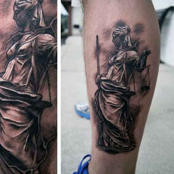 40 Lady Justice Tattoo Designs For Men Impartial Scale Ideas