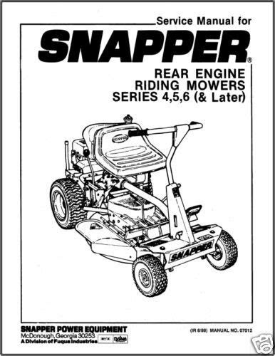 Read snapper-rear-engine-riding-mower-service-manual