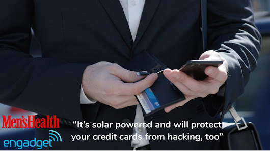 World's 1st smart wallet with USB & solar charge. Slim+RFID.