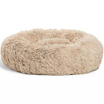 Best Friends by Sheri Luxury 23 Inch Shag Faux Fur Donut Dog Cat Pet Bed, Taupe by VM Express