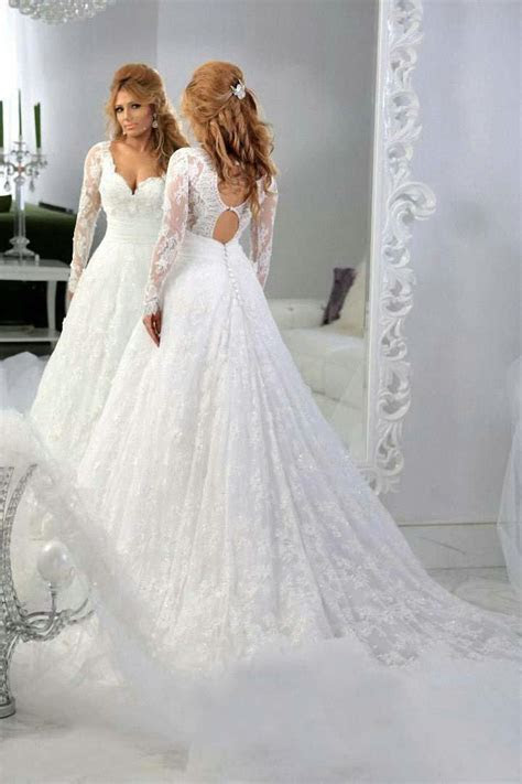Vintage Lace Long Sleeves Beaded A line Wedding Dresses