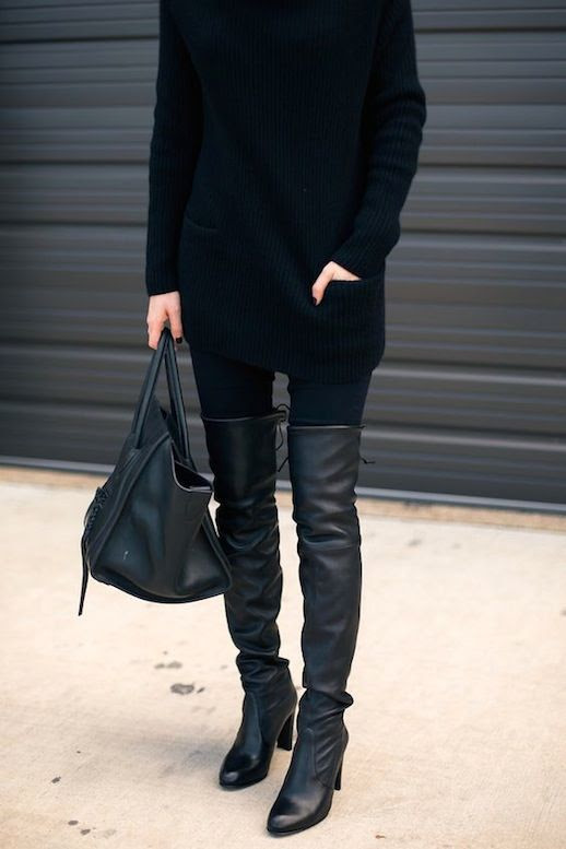 Le Fashion Blog Fall Style Long Ribbed Sweater Denim Tote Bag Over The Knee Black Leather Heeled Boots Via Krystal Schlegel