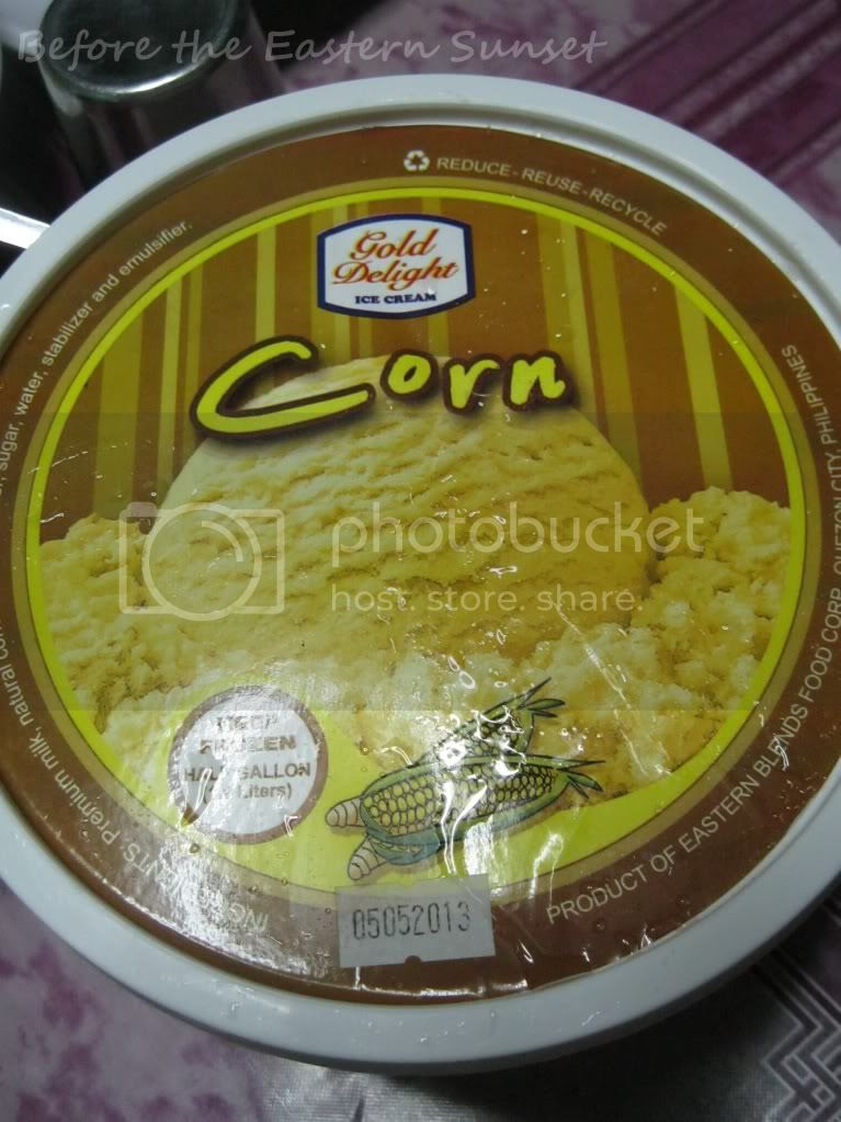 Corn-flavored ice cream of Gold Delights