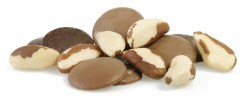milk chocolate buttons, dark chocolate buttons and brazil nuts