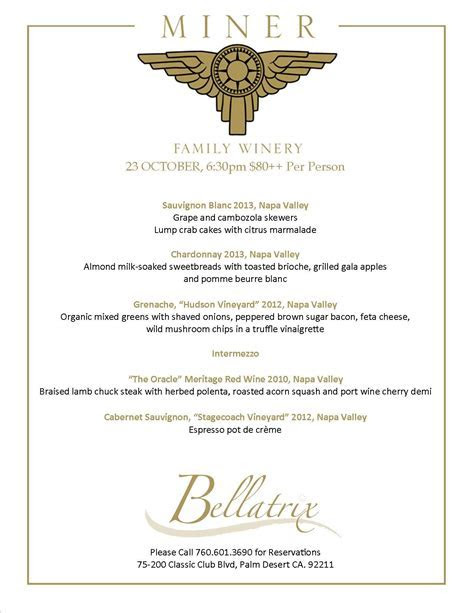 Wine Dinner menu   Bellatrix Restaurant & Classic Club