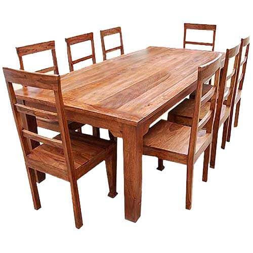 Rustic Furniture Solid Wood Dining Table \u0026 Chair Set
