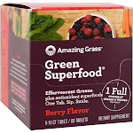 Amazing Grass Green Superfood Effervescent Greens Berry Flavor 60 Tablets (6-10ct Tubes)