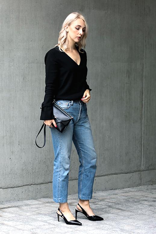 Le Fashion Blog Blogger Style Black Long Sleeve Top Leather Bag High Waisted Levis Jeans Slingback Heeled Sandals Via Noa Noir
