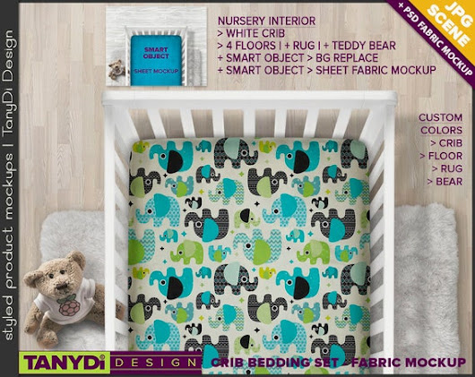 Crib Sheet Photoshop Styled Fabric Mockup  by TanyDiArtDesign