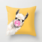 """Bubble Gum Sneaky Llama In Yellow Couch Throw Pillow by Big Nose Work - Cover (16"""" x 16"""") with pillow insert - Indoor Pillow"""