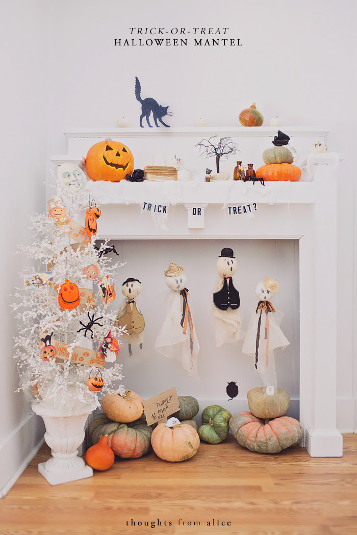 Trick-or-Treat-Halloween-Mantel-Decorating-thoughts-from-alice DIY halloween decorations