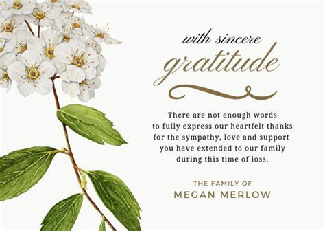Bereavement Thank You Notes   Lovely Wording Examples