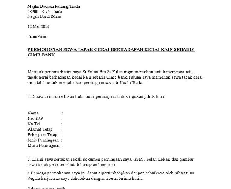 contoh surat rasmi permohonan sewa kedai kerja kosr