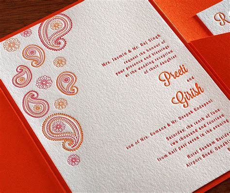 Modern Indian Letterpress Wedding Invitation Gallery