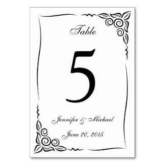 Black & White Calligraphy Table Card