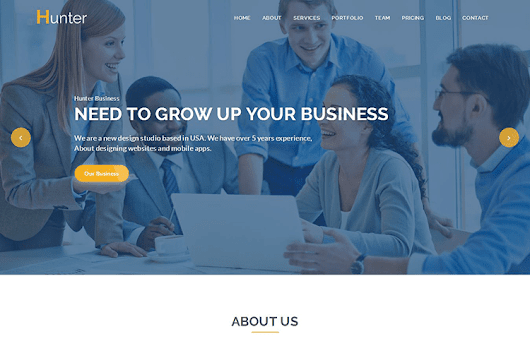 Hunter – One page Corporate HTML5 Template
