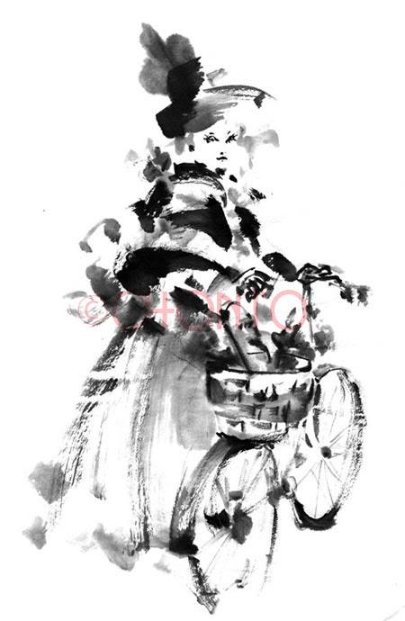 19世紀女性 イラスト 水墨画 墨絵 イラスト ライブペイント ロックな
