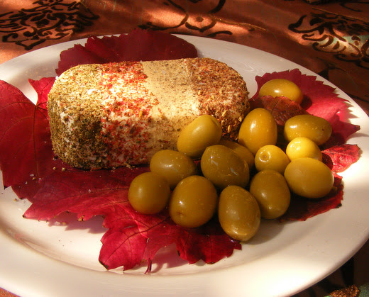 Four-Pepper Cream Cheese with Green Olives
