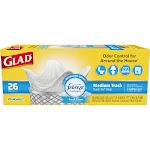 Glad Febreze Fresh Clean OdorShield Quick-Tie Medium Trash Bags, White, 8 gal - 26 count