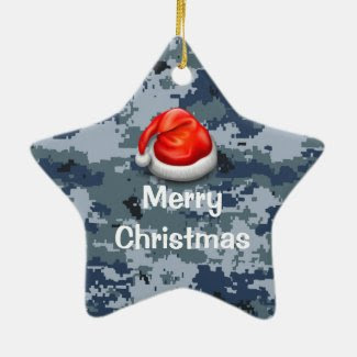 Navy Camo Star Merry Christmas Ornament
