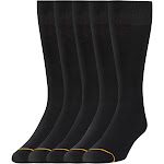 Signature Gold by Goldtoe Flatknit Crew Men's Socks, Black