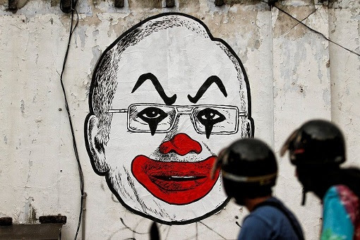 Iconic Clown Caricature Of Najib Razak - Painting On Wall