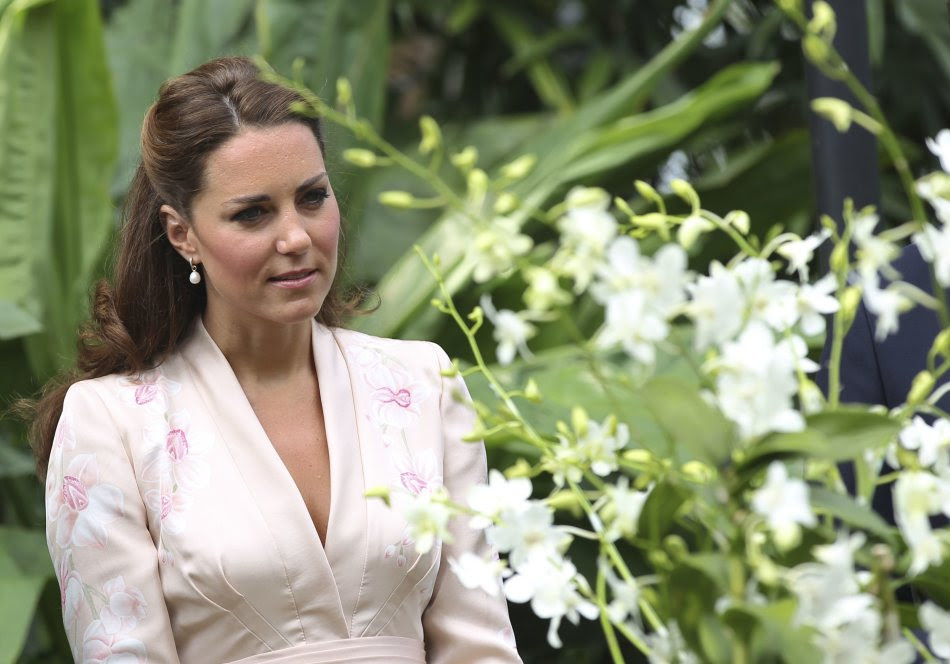 Britain's Catherine, the Duchess of Cambridge, looks at the Dendrobium Memoria Princess Diana orchids as she tours the National Orchid Garden in the Singapore Botanic Gardens