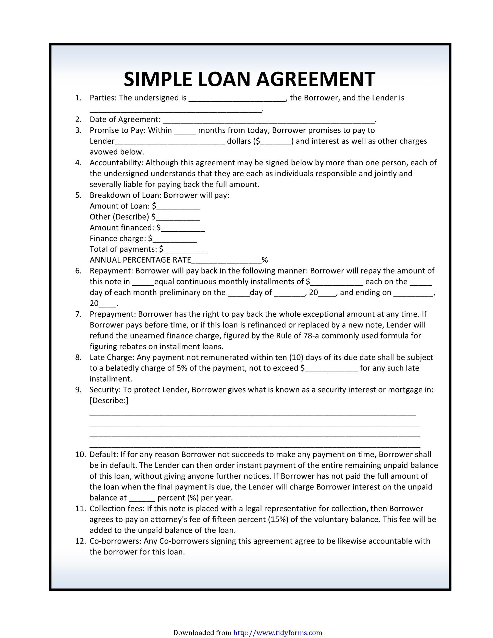 40+ Free Loan Agreement Templates [Word \u0026 PDF]  Template Lab