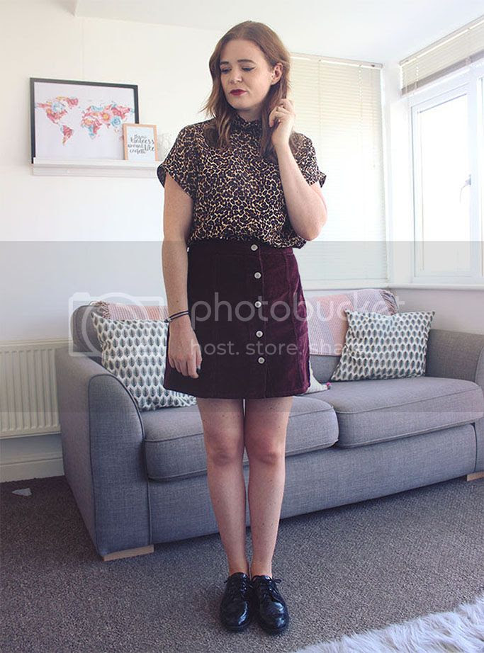 cord skirt and leopard skirt 70s brogues