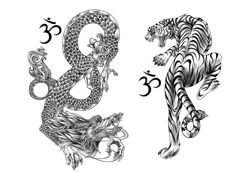 Chinese Dragon And Tiger Tattoos Design