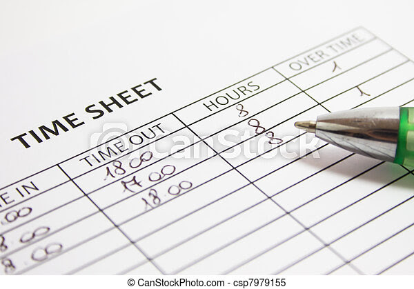 Stock Images of Filling Time Sheet with hours csp7979155 - Search ...