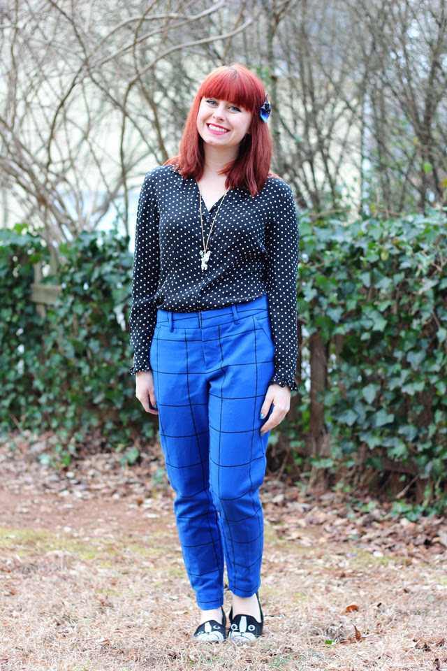 Blue Patterned Trousers, Polka Dot Blouse, Boston Terrier Flats