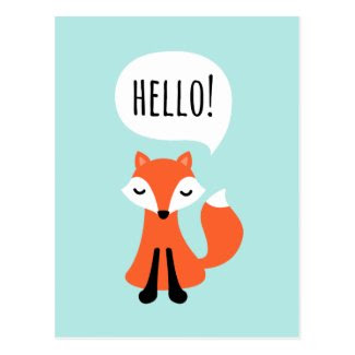 Cute cartoon fox on blue background saying hello postcard